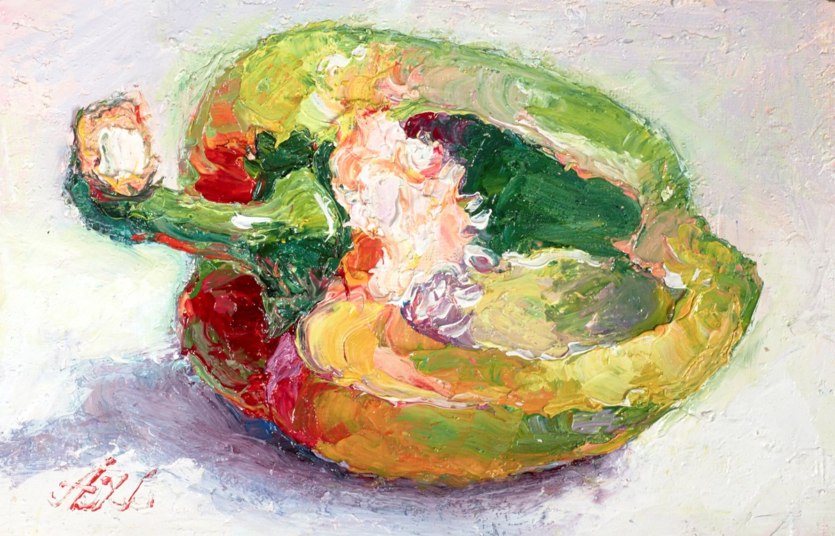 A Half Green Pepper I by lana okiro -  sized 6x4 inches. Available from Whitewall Galleries